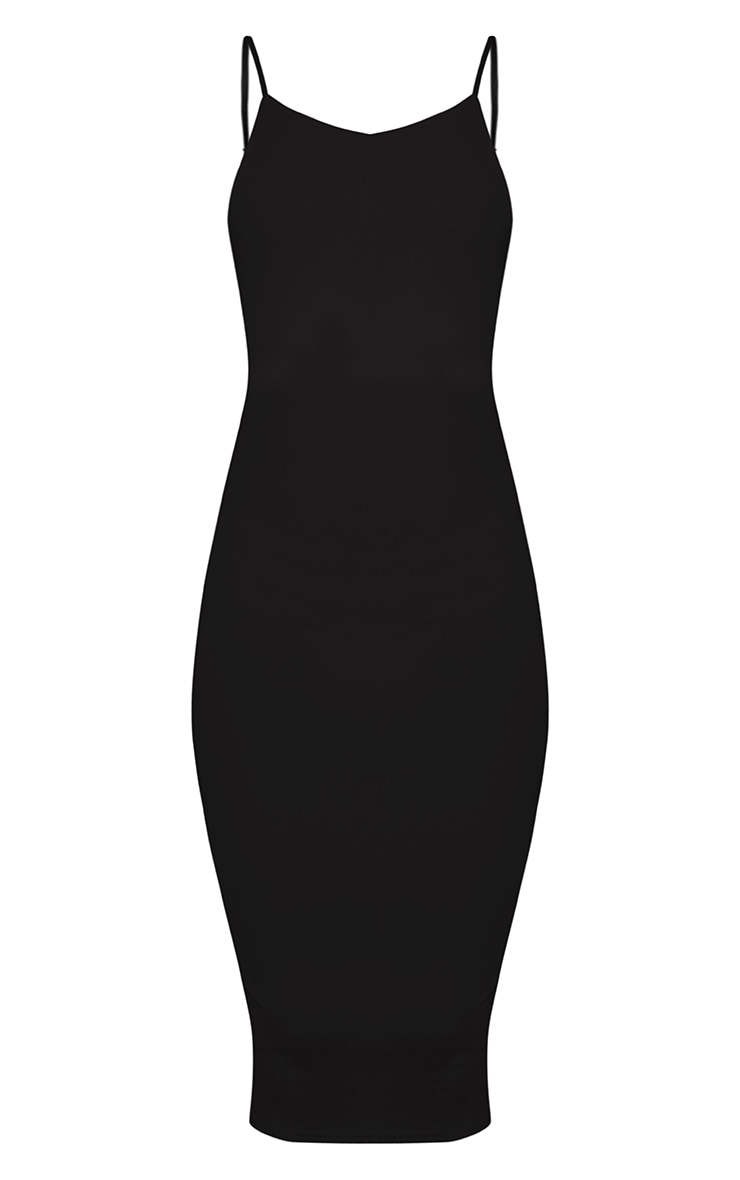 Ada Black V Back Crepe Midi Dress 3