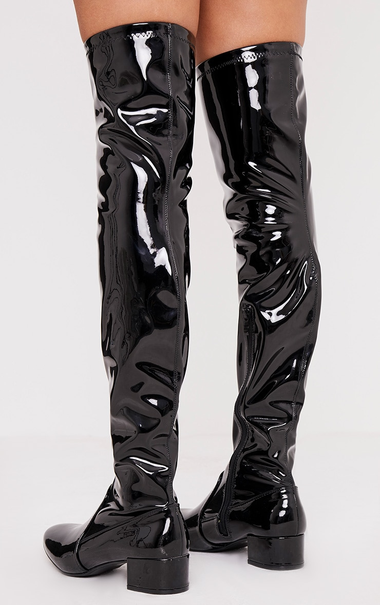 recognized brands get online clearance prices Esmay Black Patent Thigh High Boots