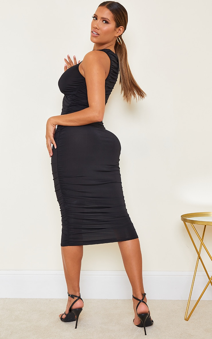 Shape Black Slinky Ruched Sleeveless Midi Dress 2