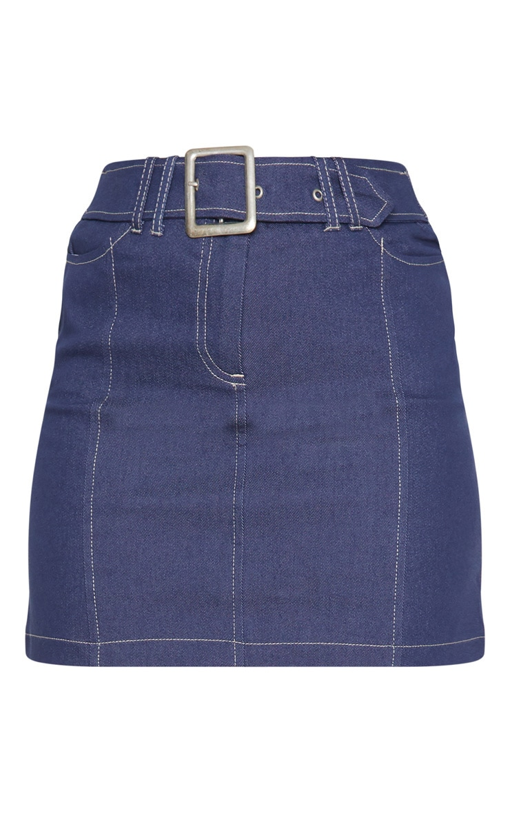 Mid Wash Denim Buckle Skirt  3
