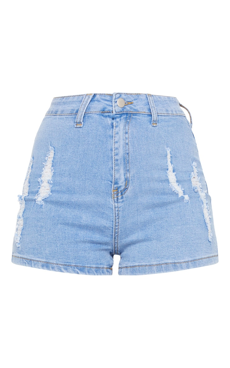 PRETTYLITTLETHING Light Blue Wash Distress Denim Disco Shorts 6