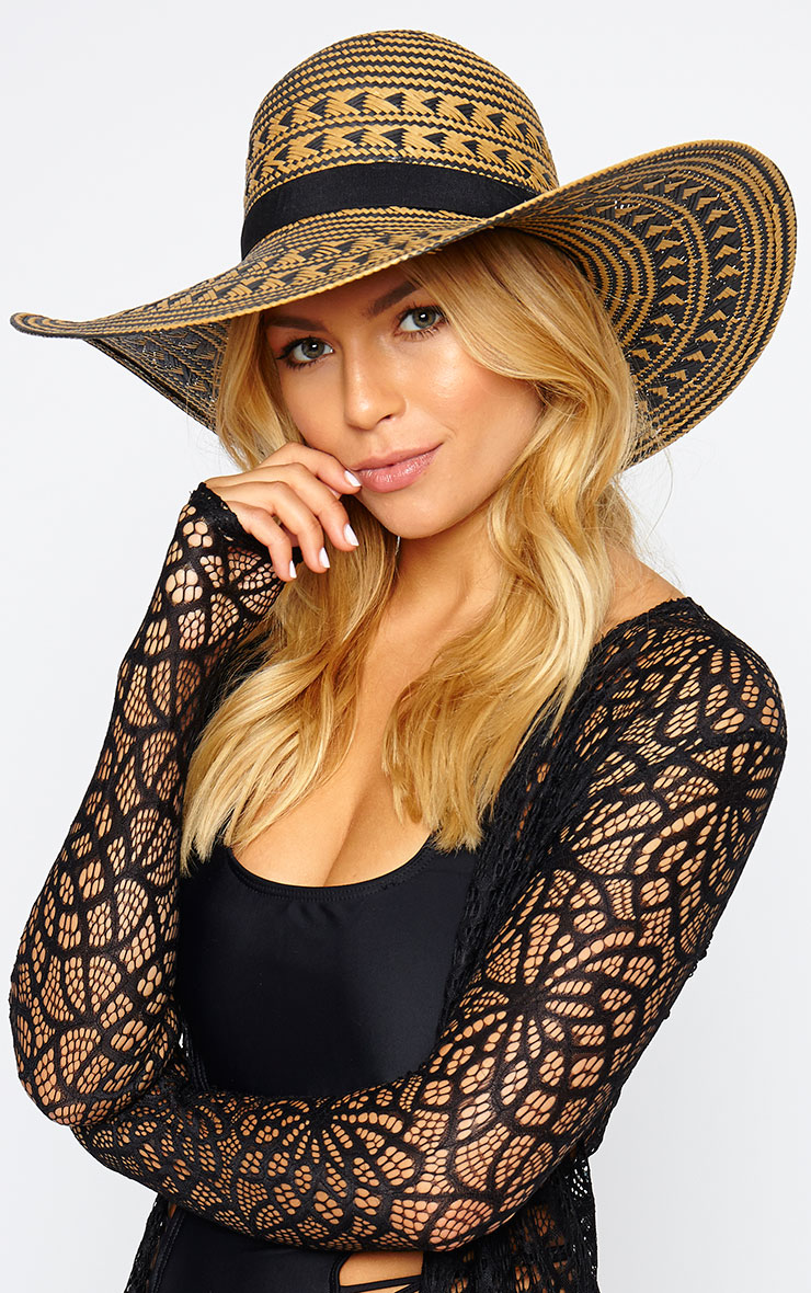 Niven Tan Aztec Straw Floppy Hat 1