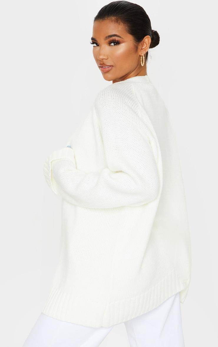 Cream Fluffy Knit Cardigan 2