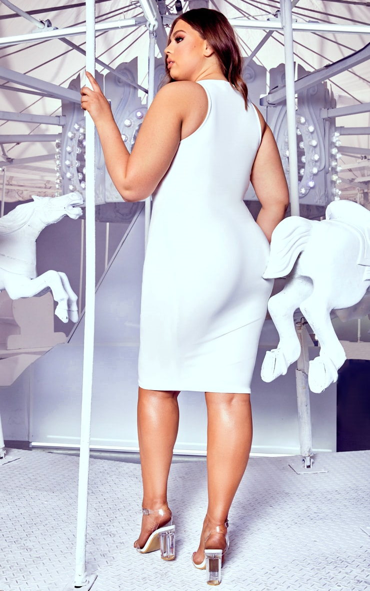 Plus White Crew Neck Midi Dress 2