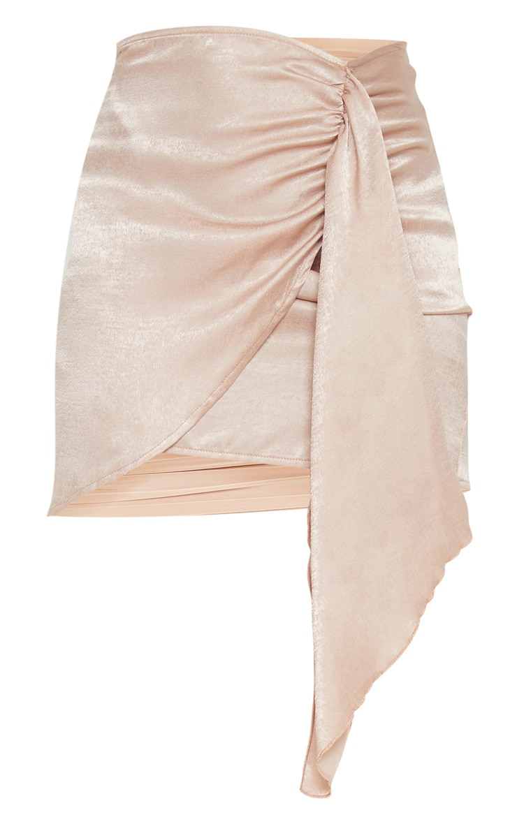 Champagne Satin Wrap Tie Detail Mini Skirt 3