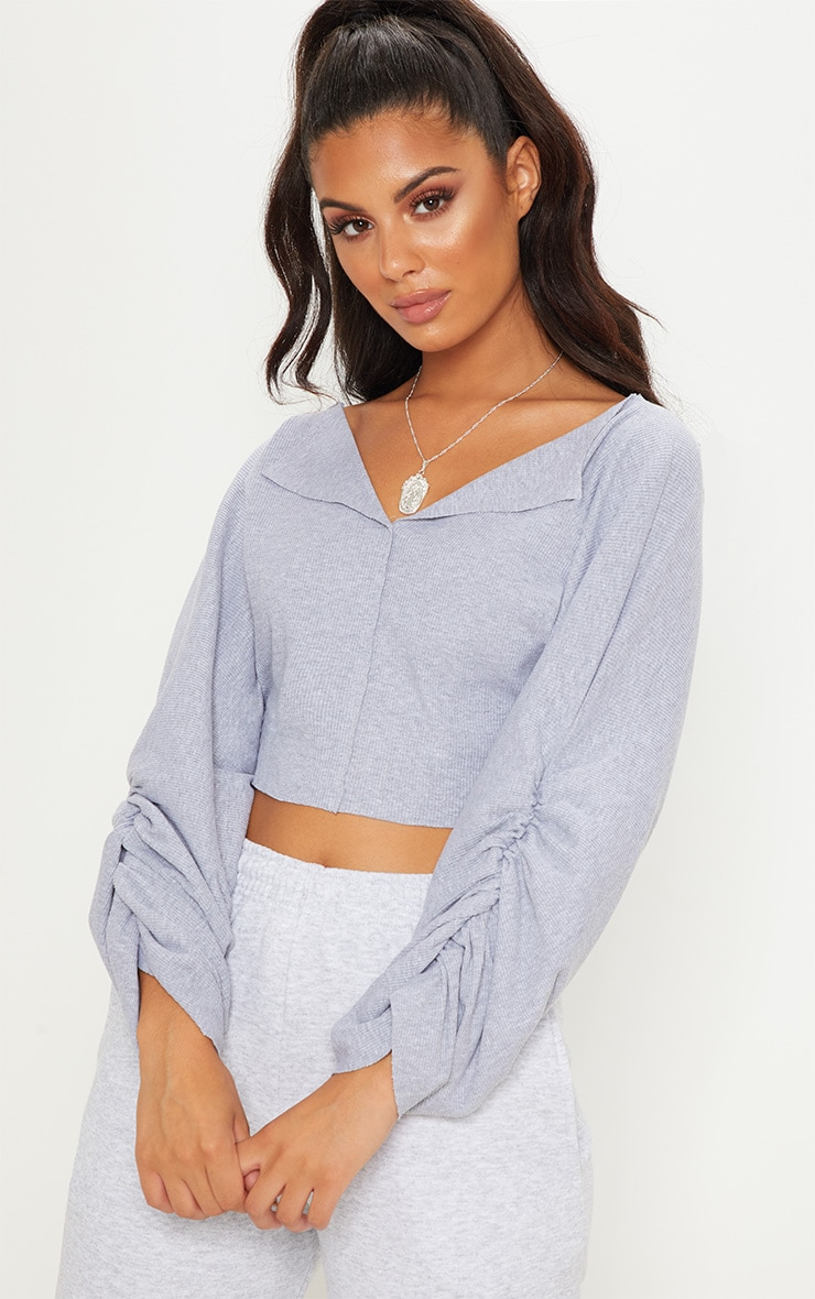Grey Ribbed Ruched Sleeve Sweater 1