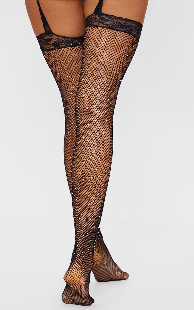 Black Diamante Lace Suspender Tights 2