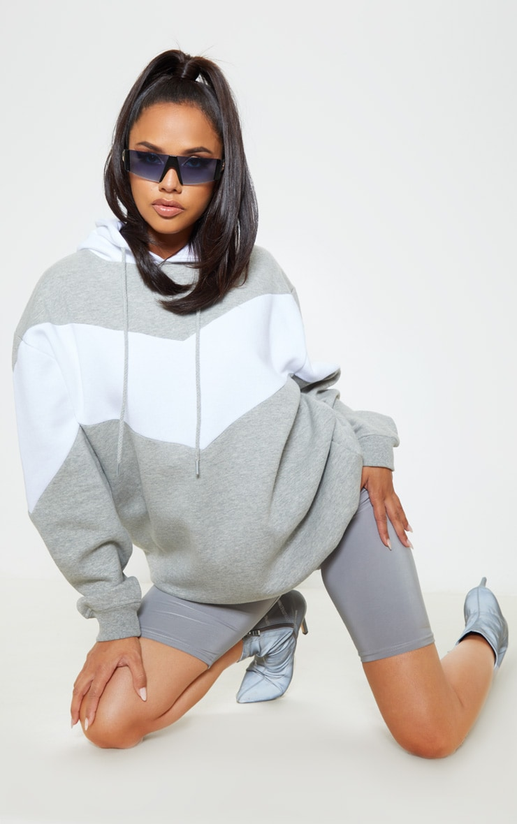 Grey Contrast Oversized Hoodie 4