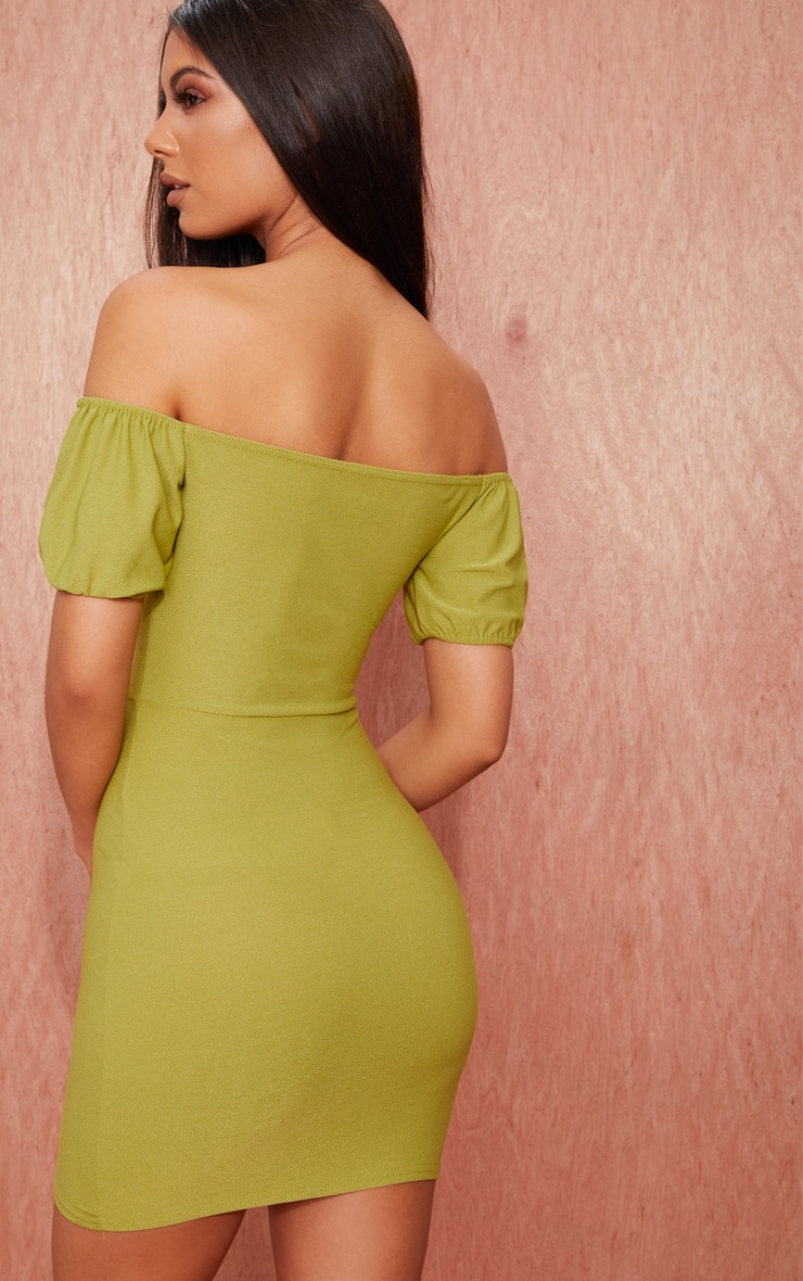 Olive Green Crepe Bardot Puff Sleeve Bodycon Dress 2