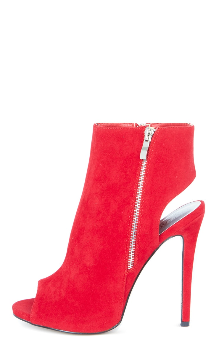 Lola Red Peep Toe Cut Out Ankle Boot 1