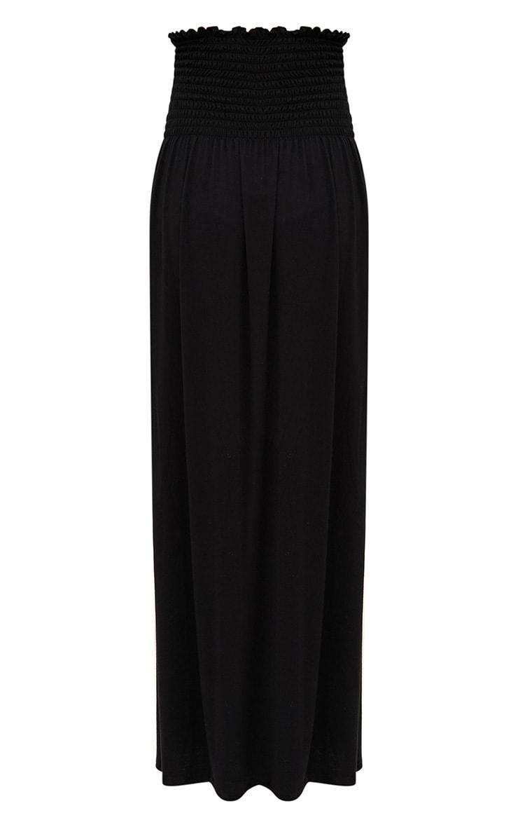 Black Shirred Waist Maxi Skirt 3