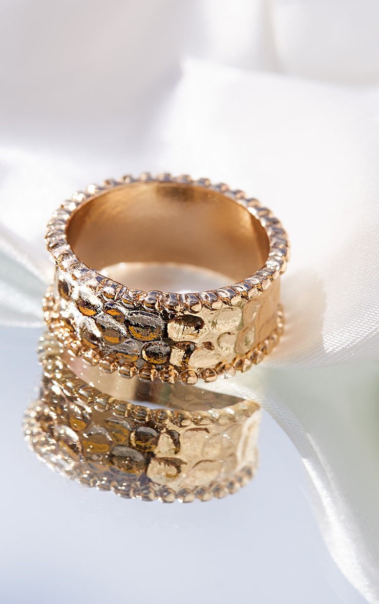 Gold Hammered Ring 1