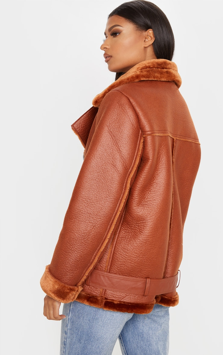 Tan PU Oversized Aviator Jacket 2