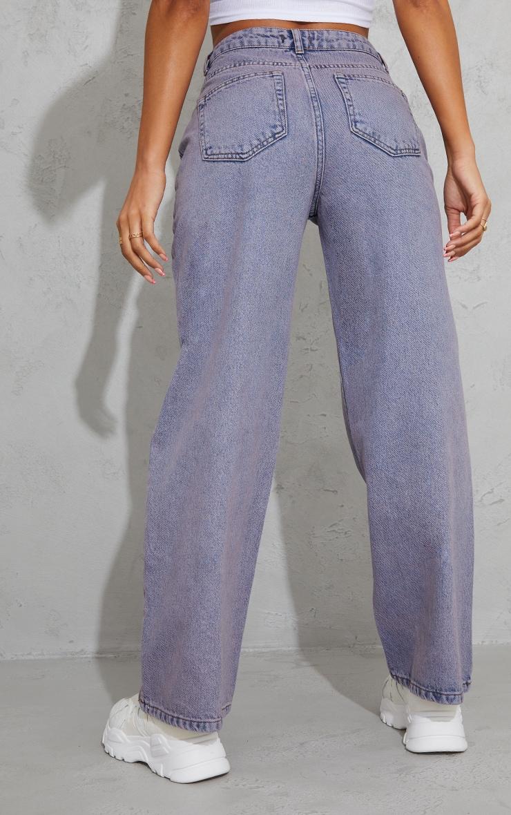 Purple Acid Wash Cropped Baggy Wide Leg Jeans 3