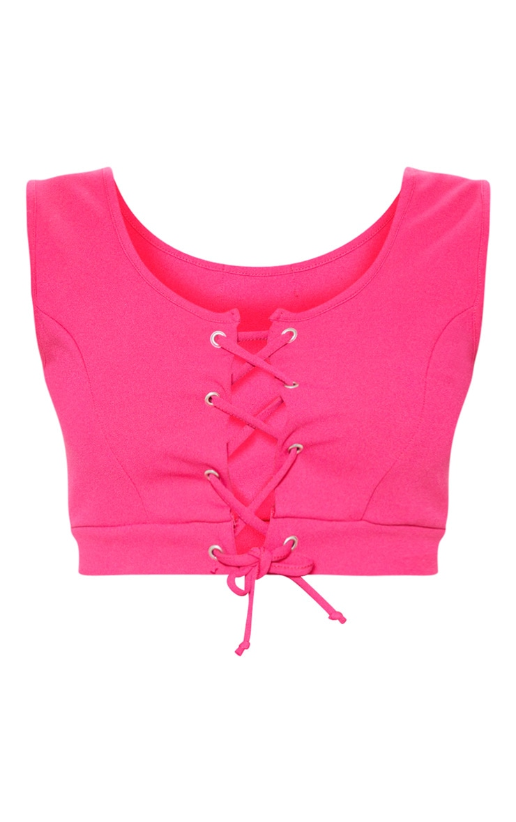 Pink Lace Up Crepe Crop Top 3