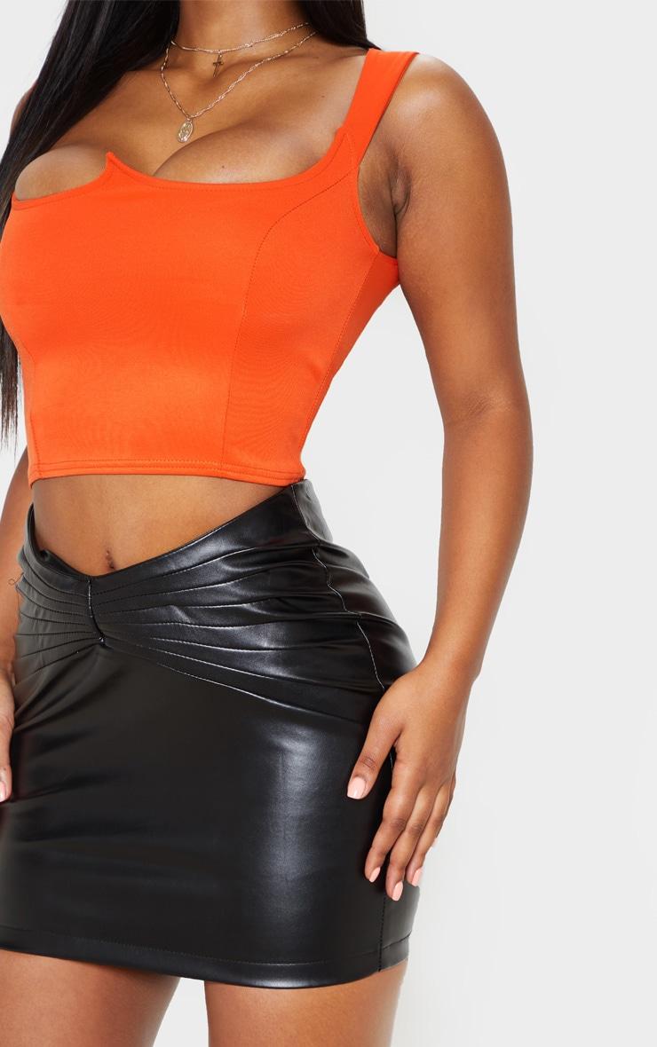 Black Faux Leather Gathered Waist Detail Mini Skirt  5