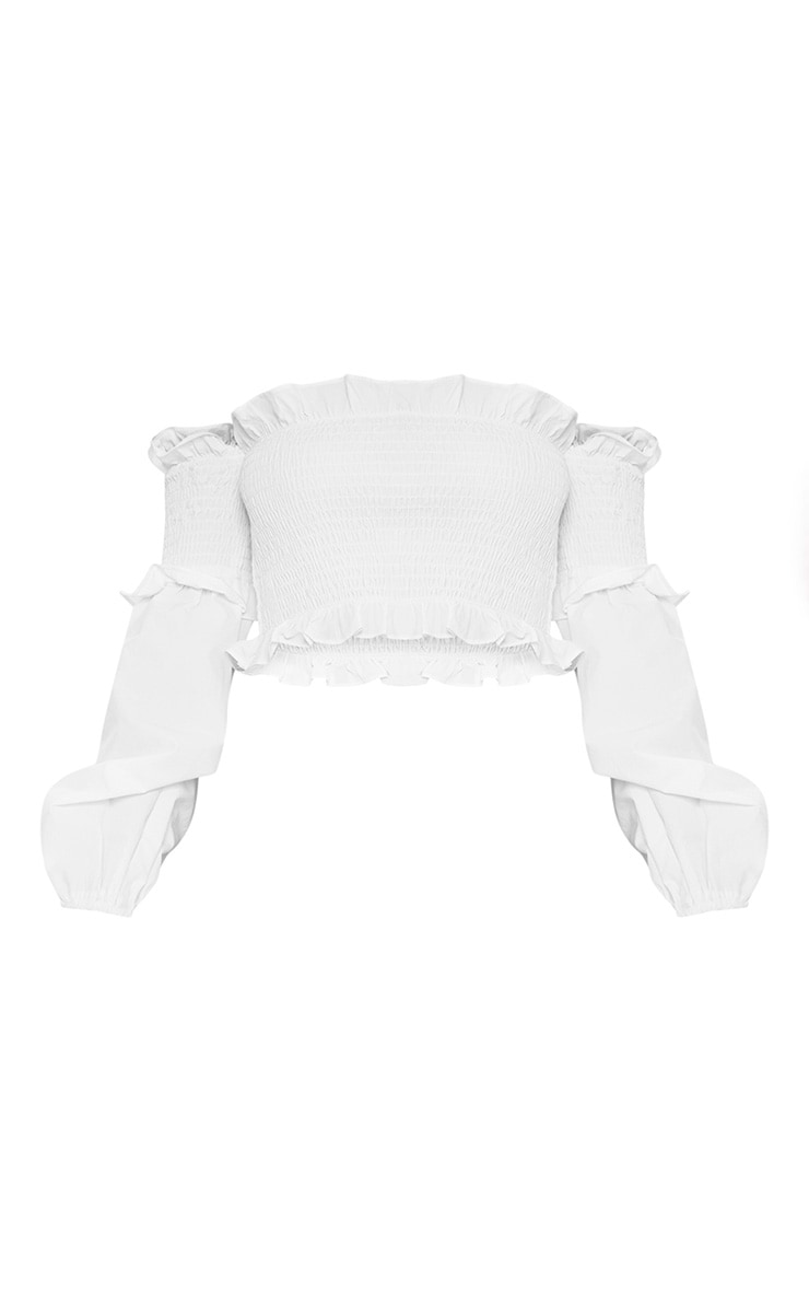 Petite White Shirred Puff Sleeve Bardot Crop Top 3