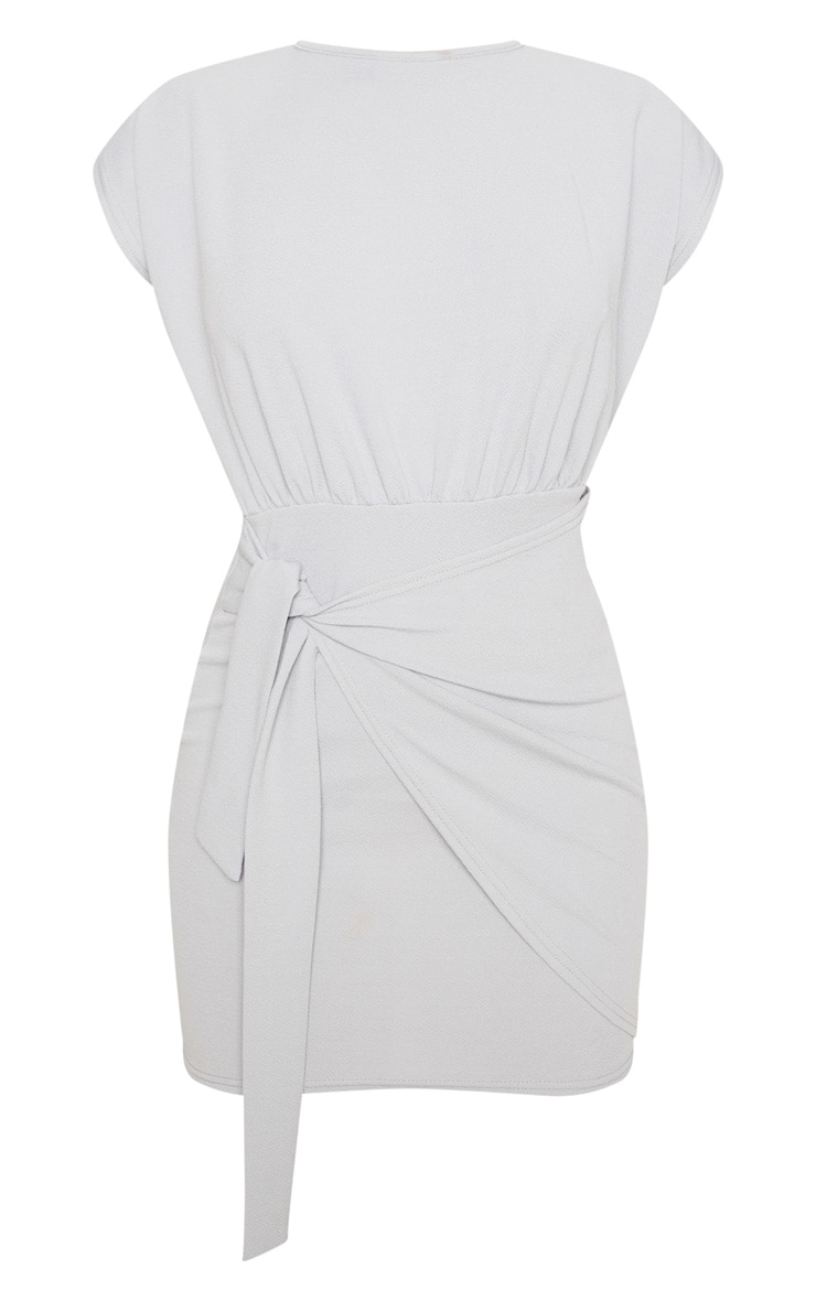 Grey Tie Waist Wrap Detail Bodycon Dress 3