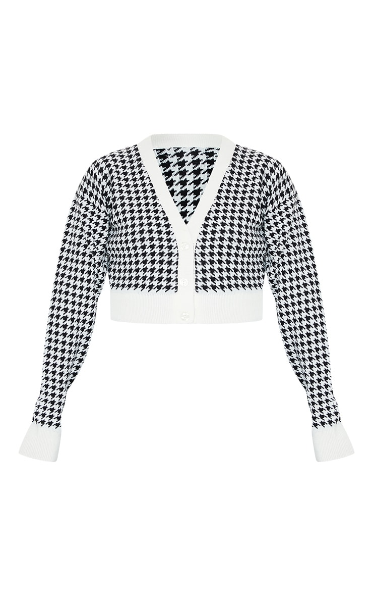 Monochrome Dogstooth Knitted Crop Cardigan 5