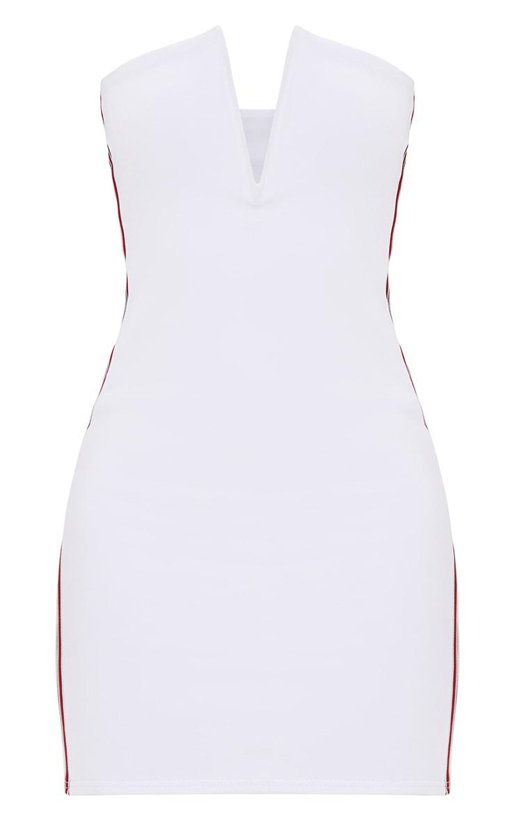 Petite White Sports Rib V Plunge Mini Dress 3