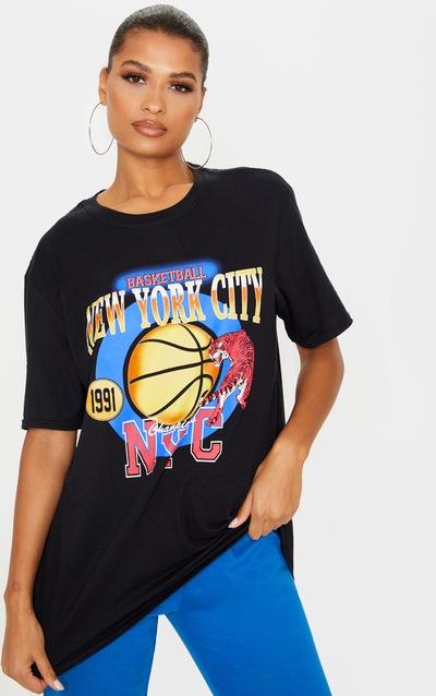 Black Nyc Basketball Slogan Tshirt