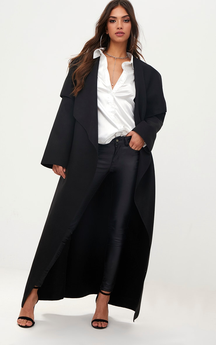 Black Maxi Length Oversized Waterfall Belted Coat