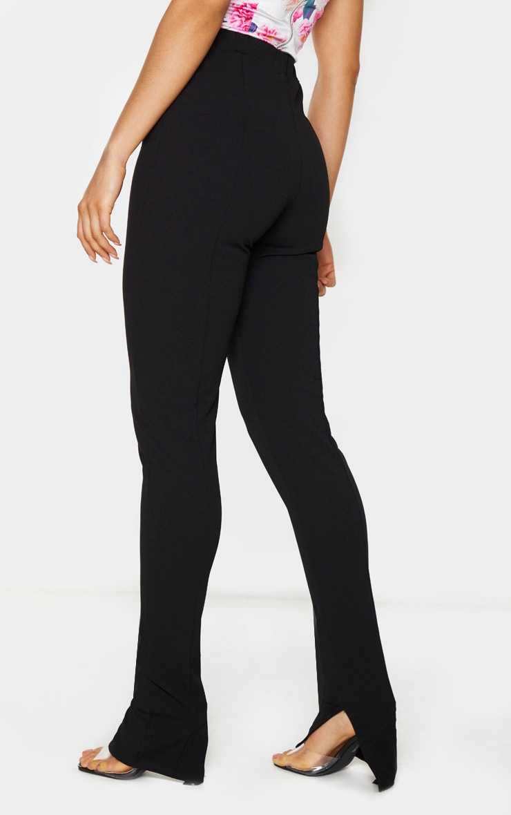 Tall Black Back Seam Split Hem Crepe Pants 3