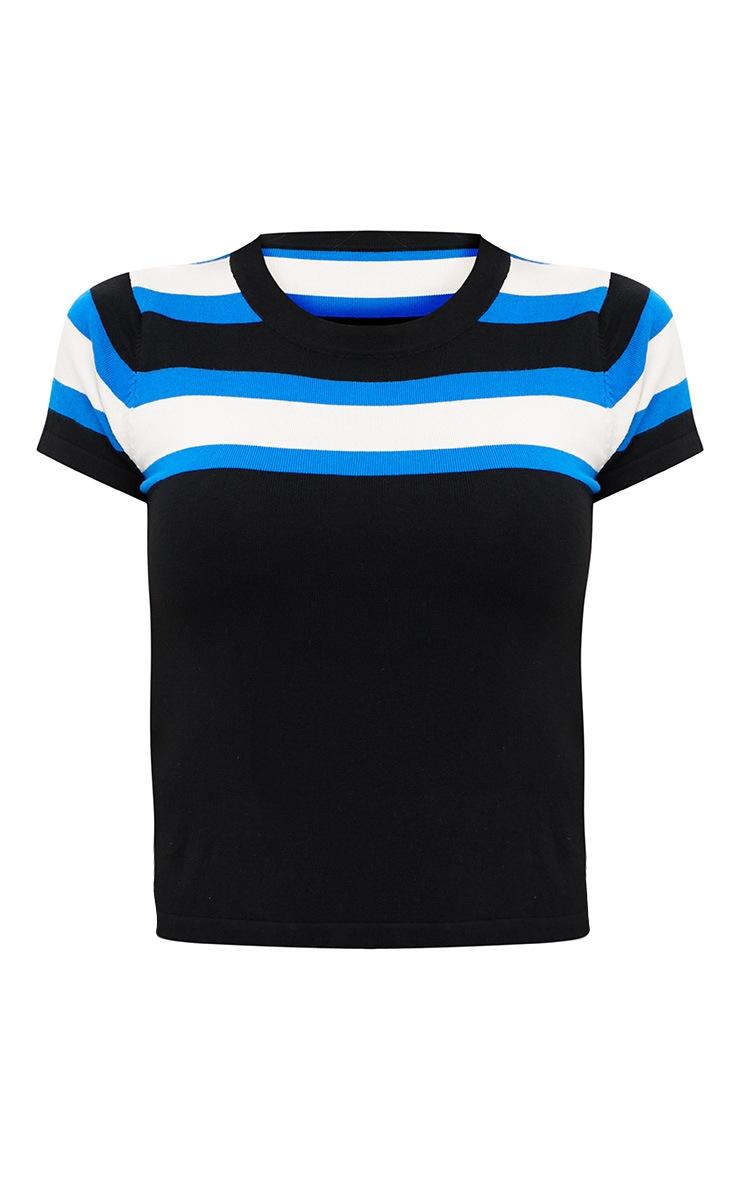 Blue Stripe Knit T-Shirt 3