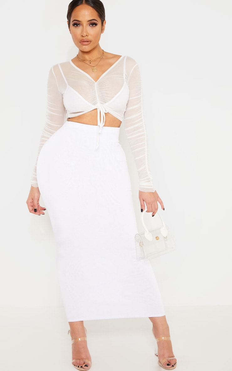 Shape White Slinky Midaxi Skirt 1