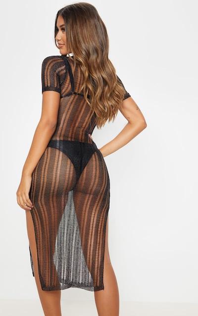 Black Metallic Knitted Midaxi Dress