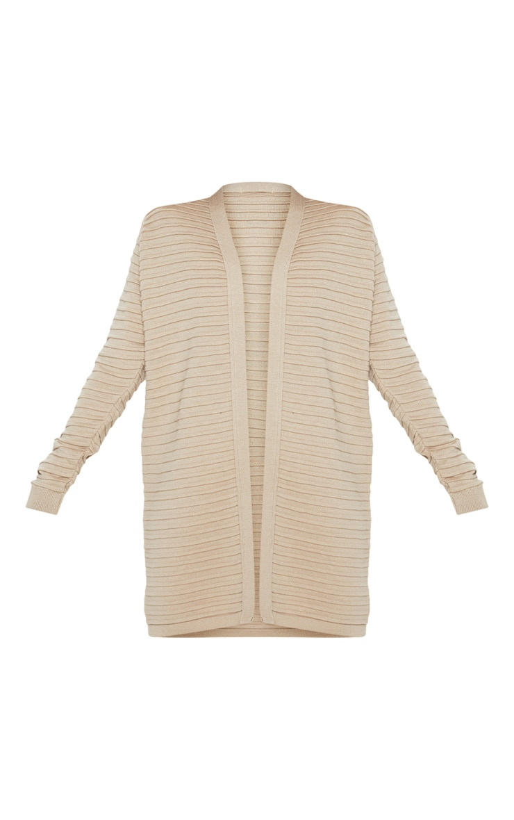 Stone Chunky Ribbed Knitted Cardigan 3