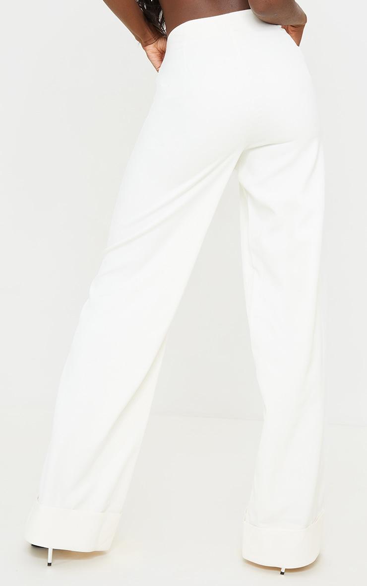 Tall White Woven Turn Up Hem High Waisted Pants 3