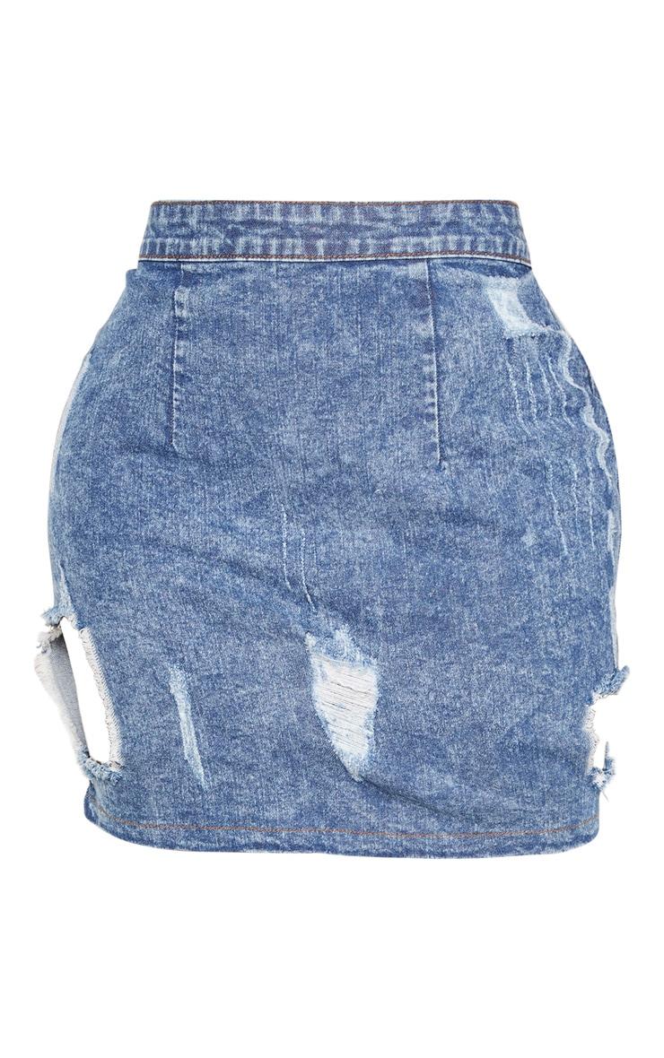 Shape - Mini-jupe déchirée en jean javelisé  3