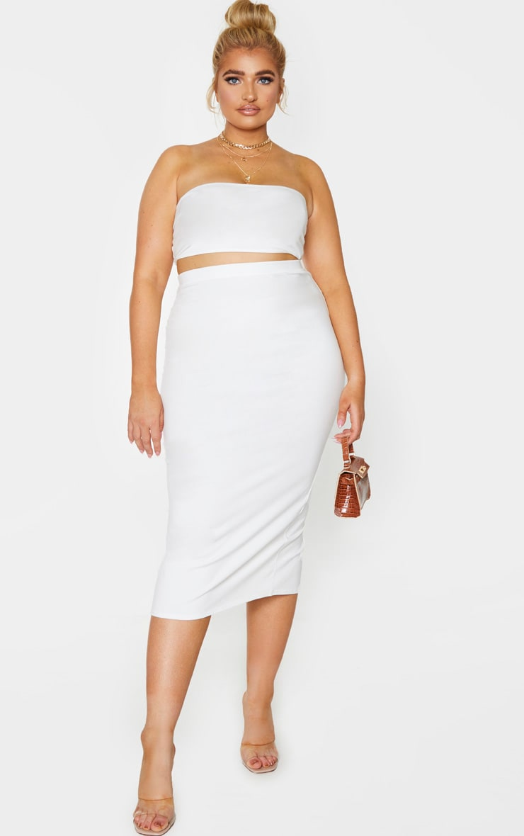 Plus Cream Cotton Split Detail Midi Skirt 1