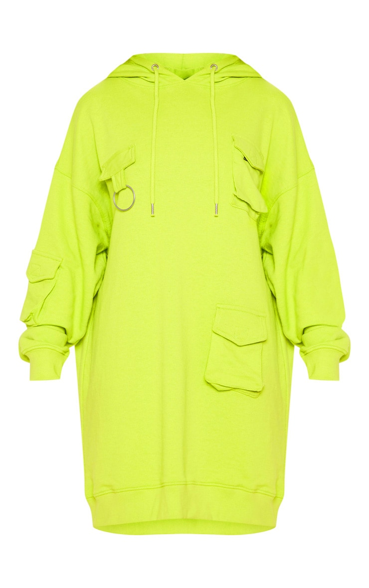 Neon Green Pocket Front Hoodie Dress 3