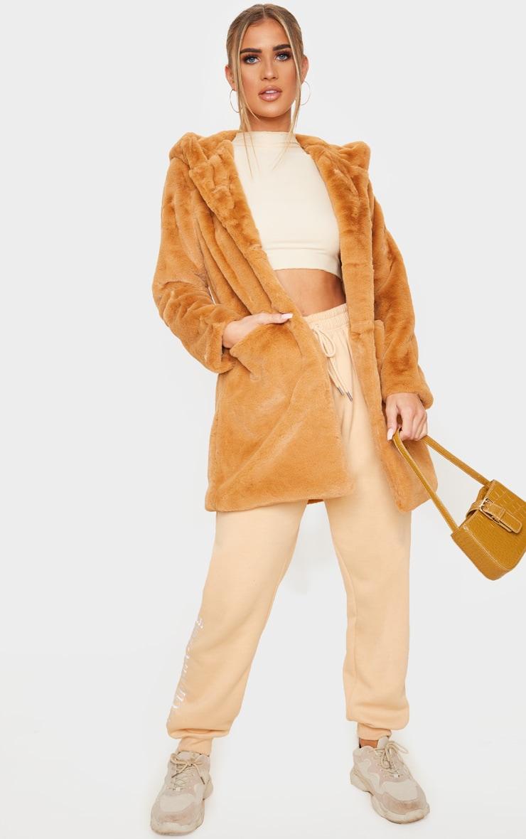 Camel Hooded Faux Fur Midi Coat 3