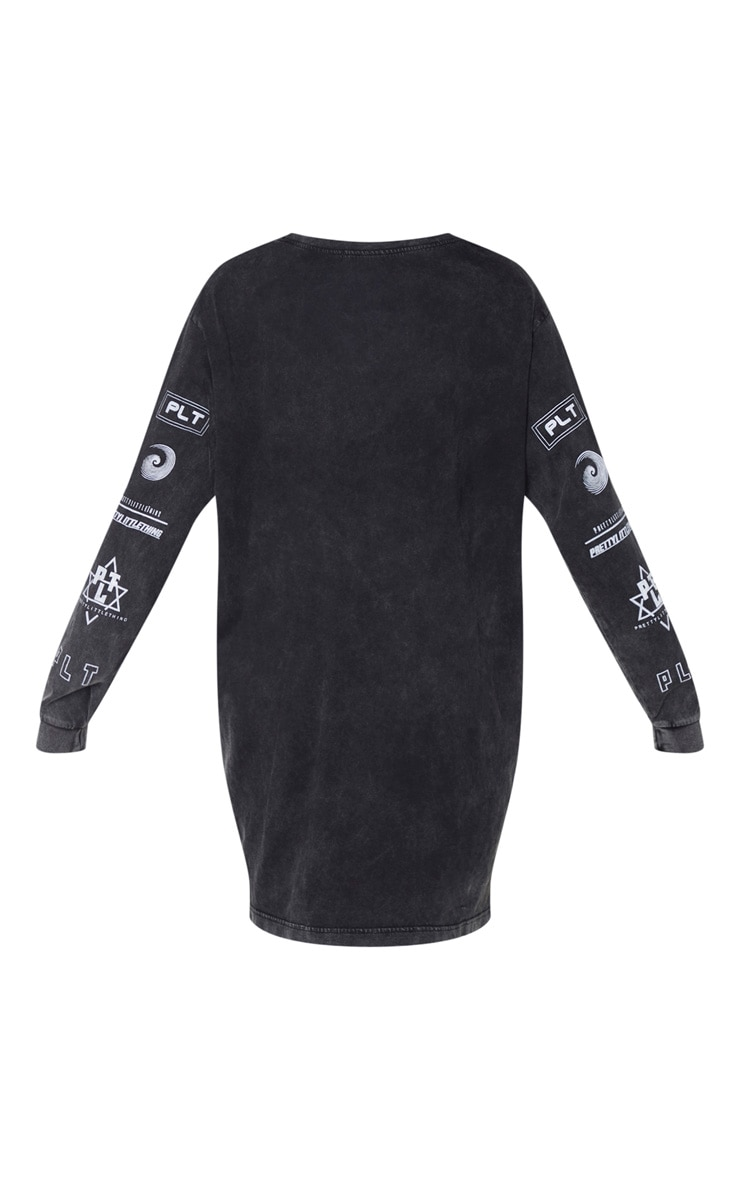 PRETTYLITTLETHING Black Slogan Printed Long Sleeve T Shirt Dress 4