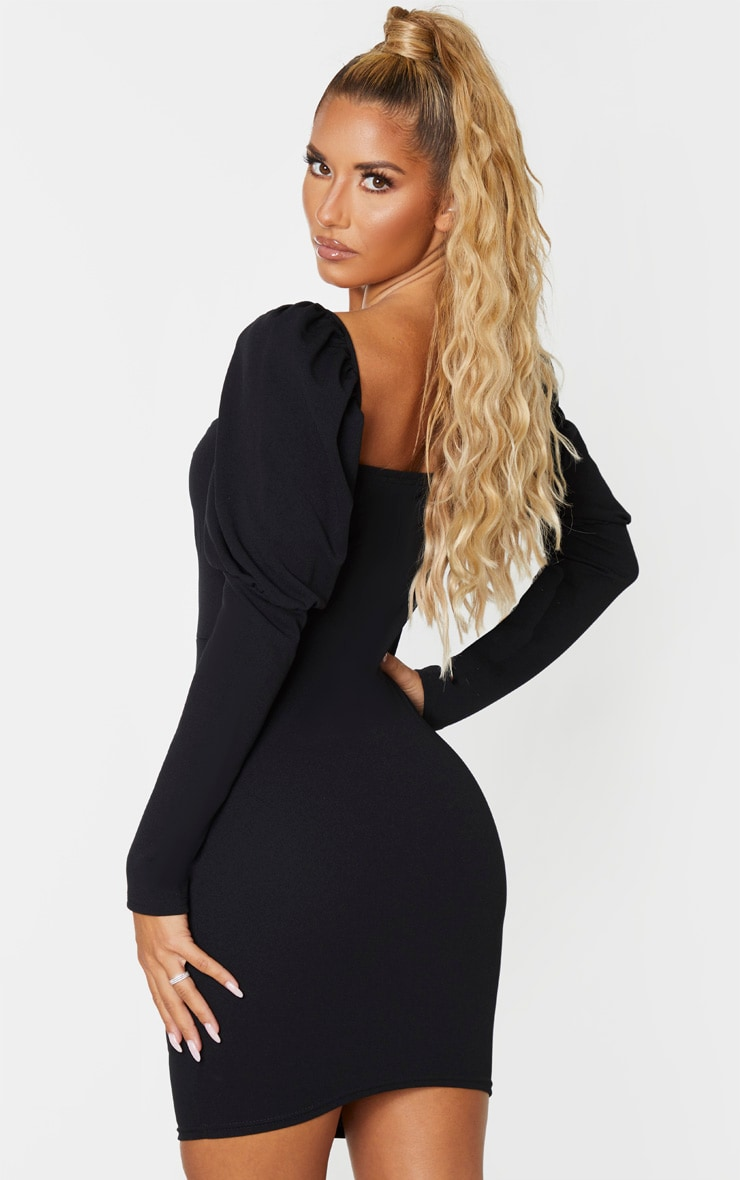 Black Long Puff Sleeve Ruched Lace Up Bodycon Dress 2