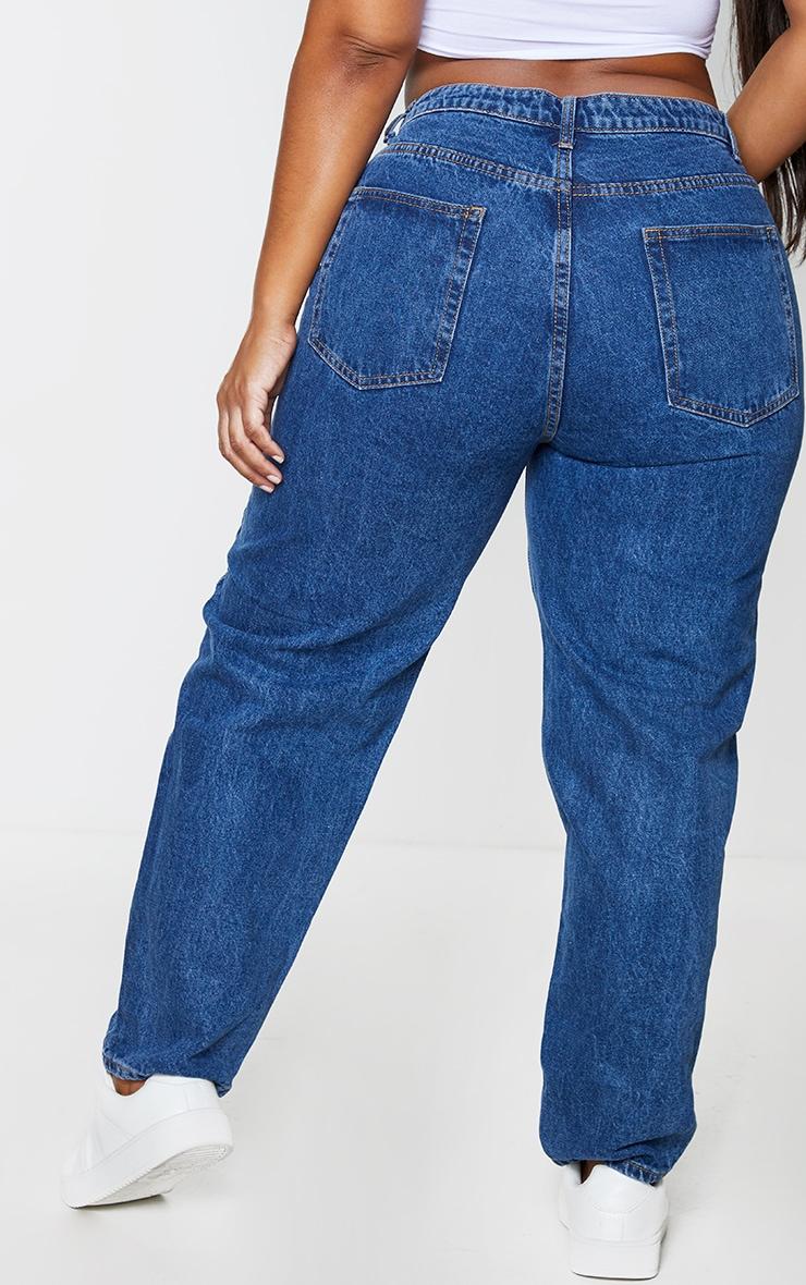 PRETTYLITTLETHING Plus Dark Blue Mom Jeans 3