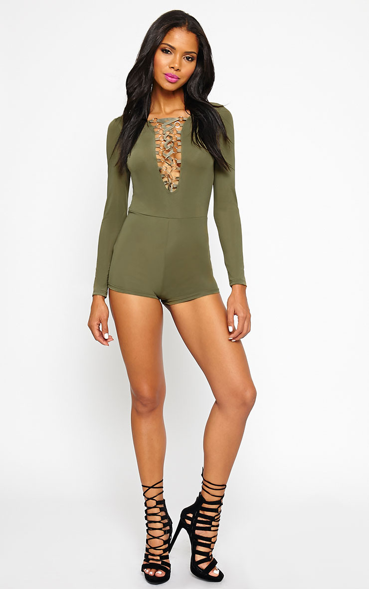 Christelle Khaki Lace Up Front Playsuit 3