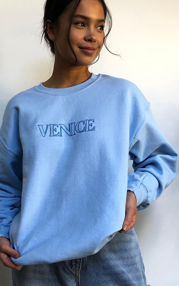 Blue Venice Embroidered Sweatshirt 4