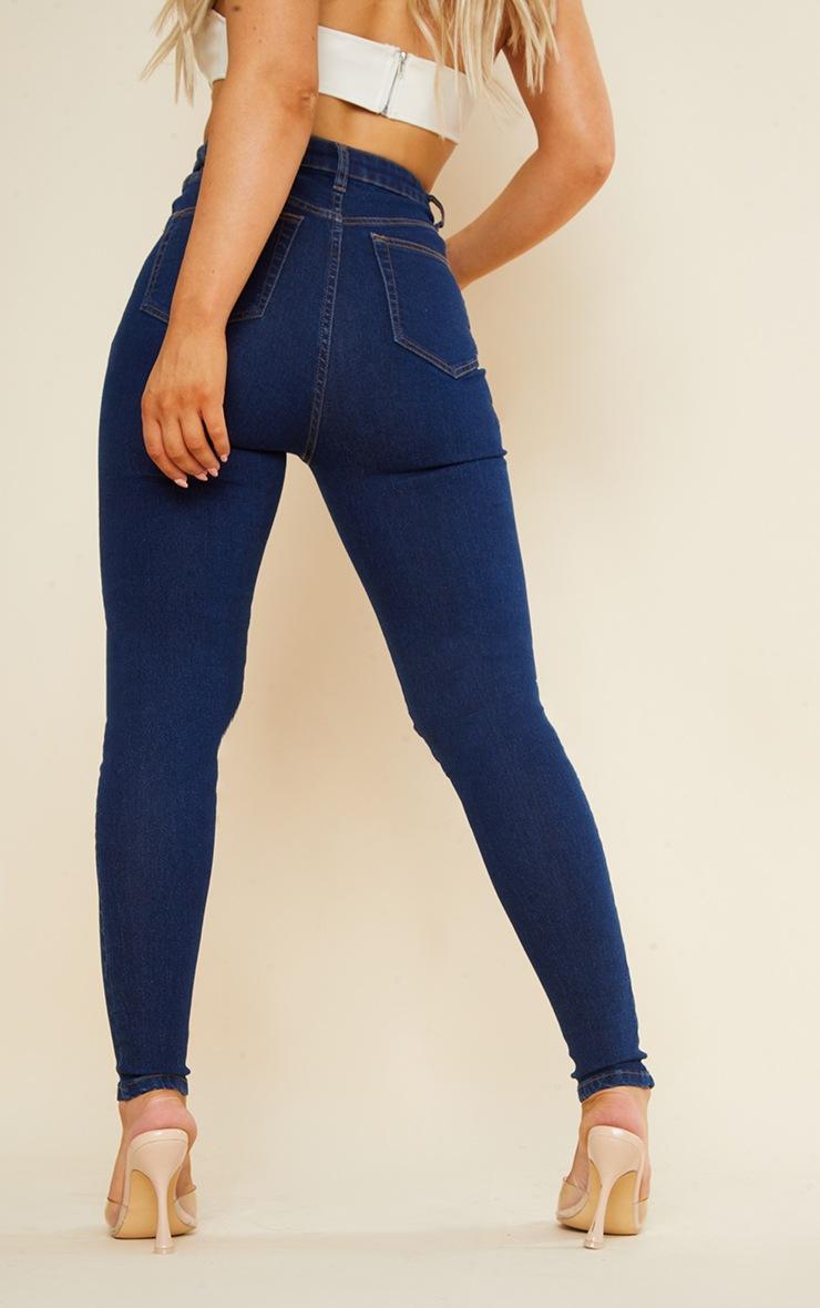 PRETTYLITTLETHING Dark Vintage Wash 5 Pocket Knee Rip Skinny Jeans 3