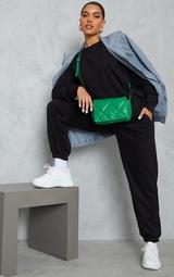 PRETTYLITTLETHING Black Embroidered Sweatshirt 3