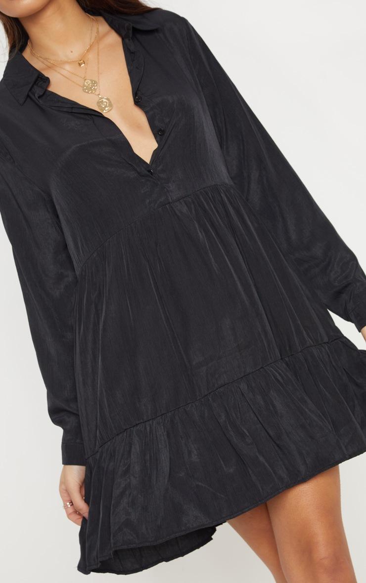 Black Tiered Shirt Dress 5