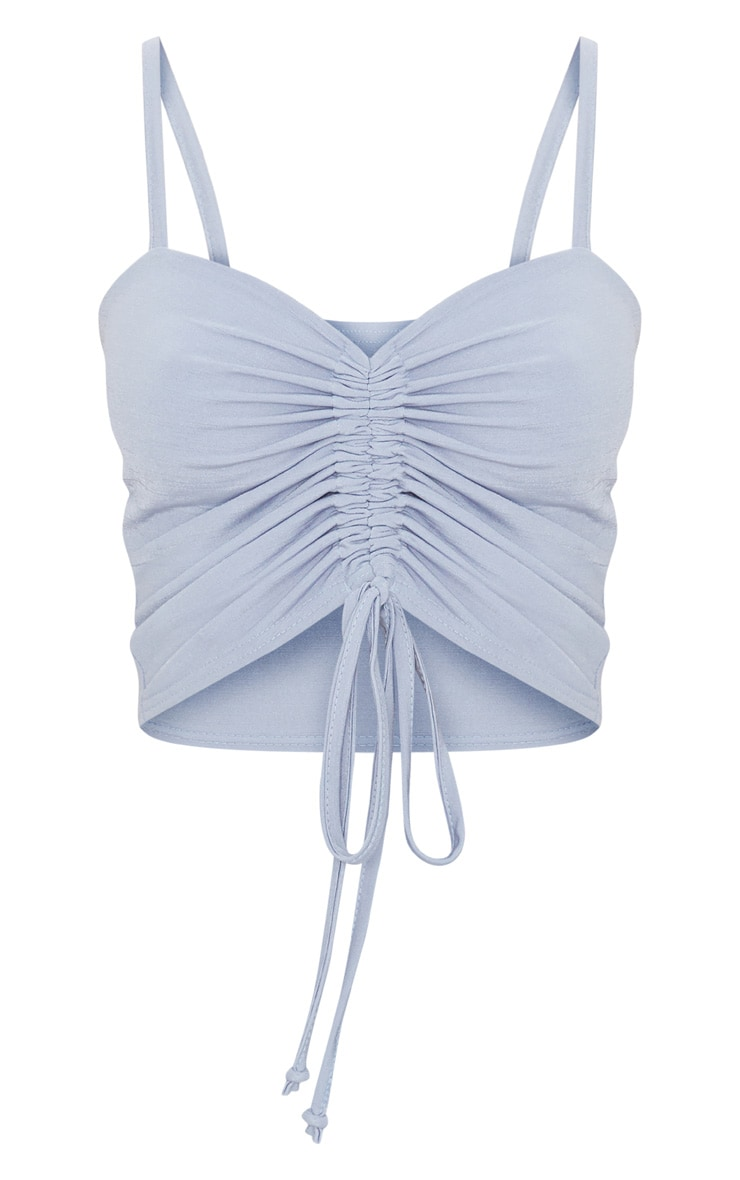 Baby Blue Ruched Front Strappy Crop Top 3