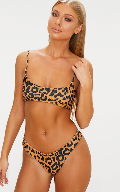 Orange Cheetah Brazilian Thong Bikini Bottom