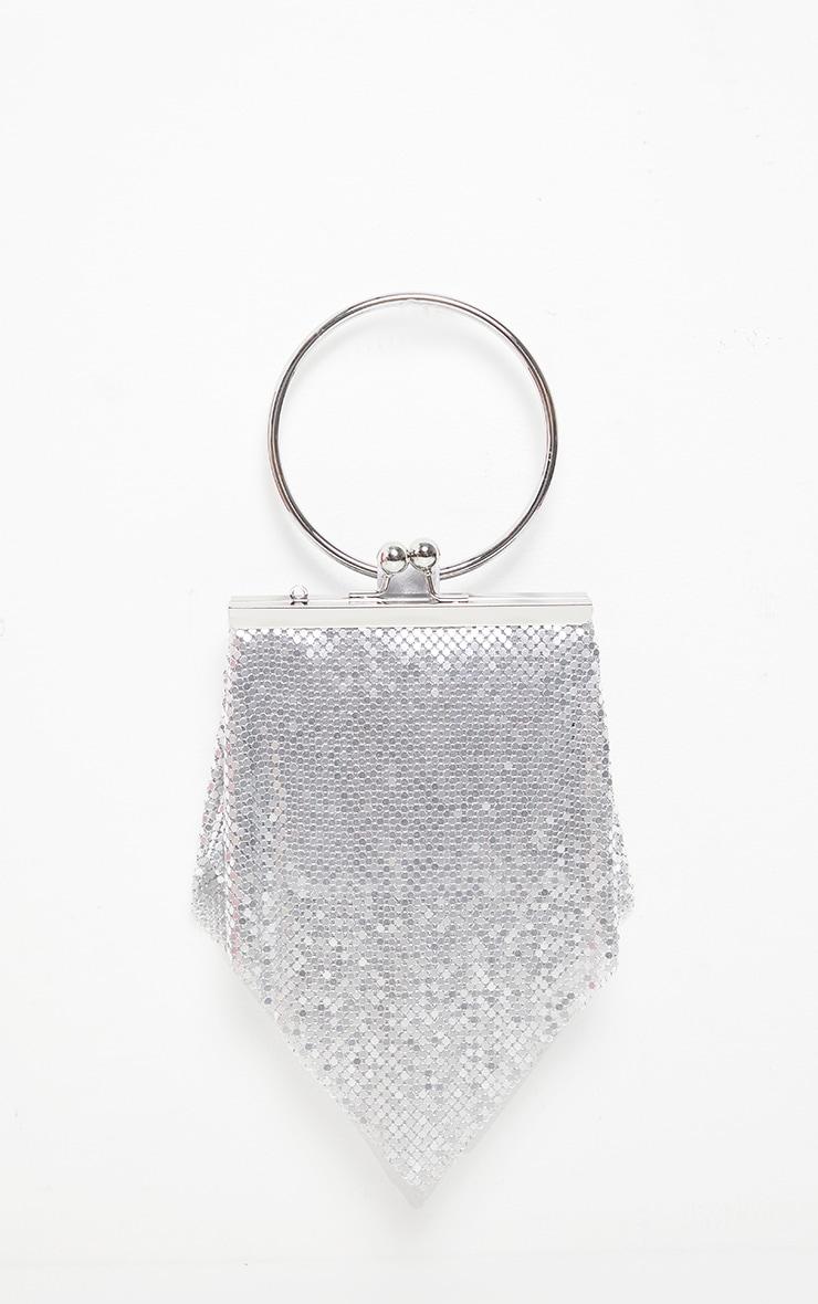 Mini-sac à bandoulière argenté en cotte de maille à anneau  1