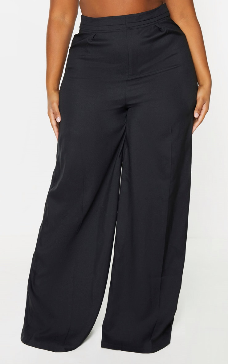 Plus Black Woven Pleat Detail Waistband Wide Leg Trouser 2