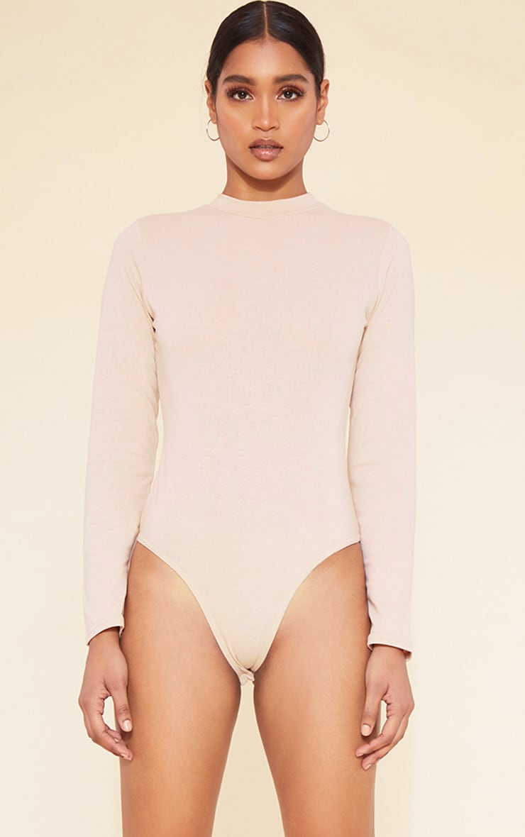 RECYCLED Deep Nude Crew Neck Long Sleeve Bodysuit