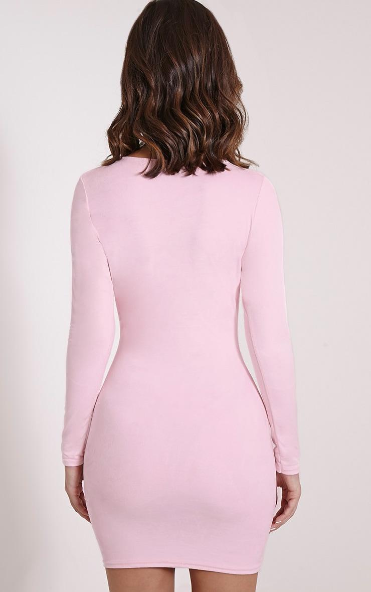 Braelynn Pink Faux Suede Long Sleeved Mini Dress 2